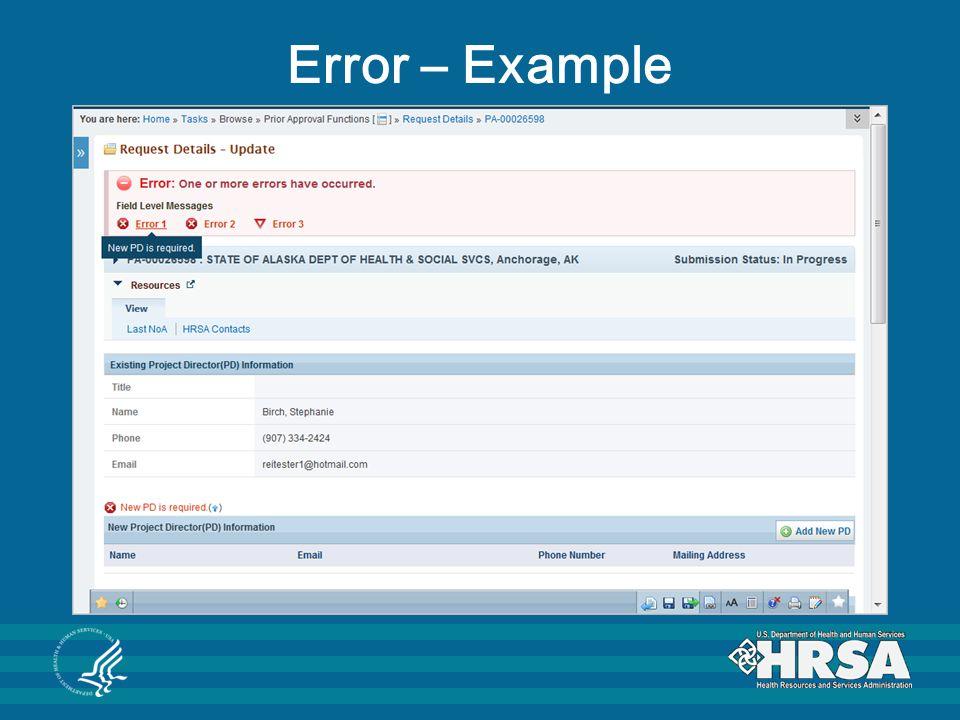 Error – Example