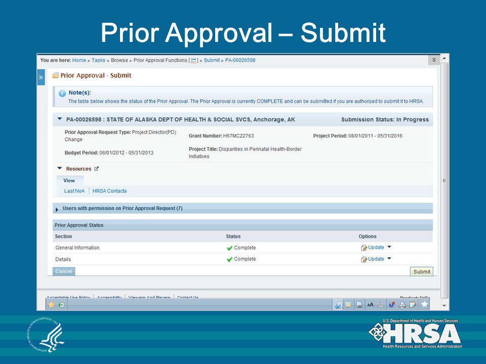 Prior Approval – Submit