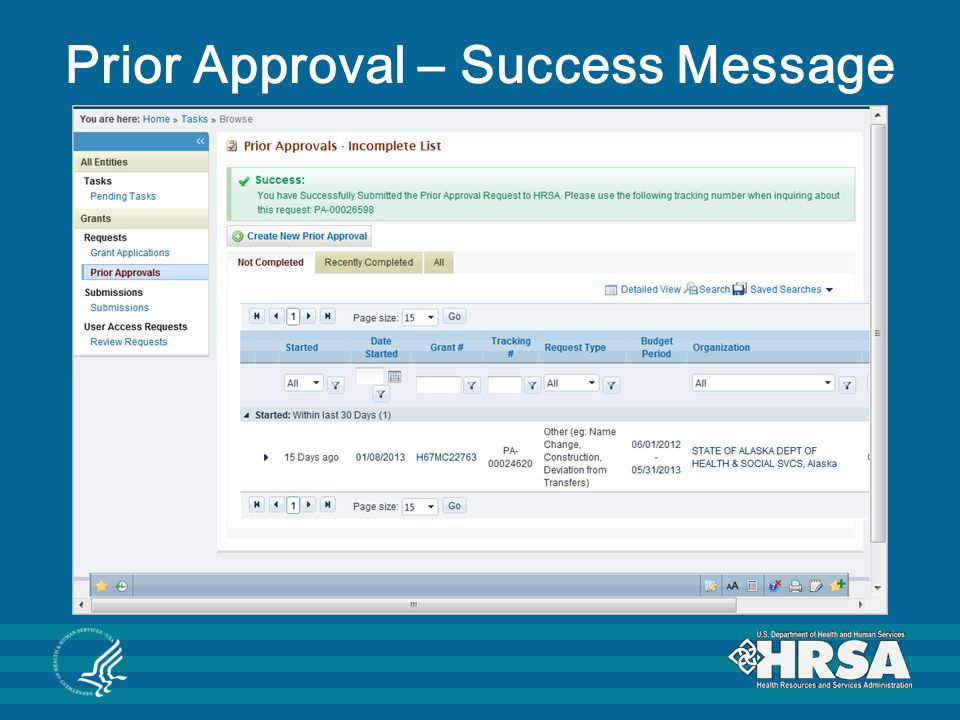 Prior Approval – Success Message