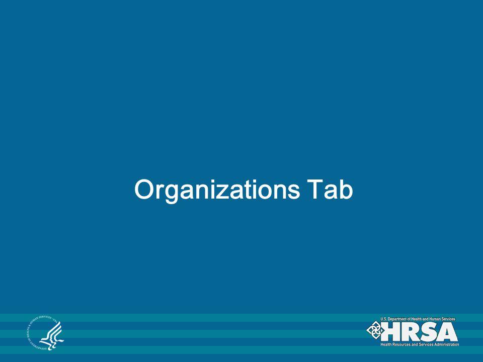 Organizations Tab