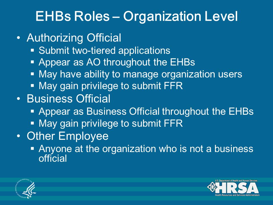 EHBs Roles – Organization Level Authorizing Official  Submit two-tiered applications  Appear as AO throughout the EHBs  May have ability to manage