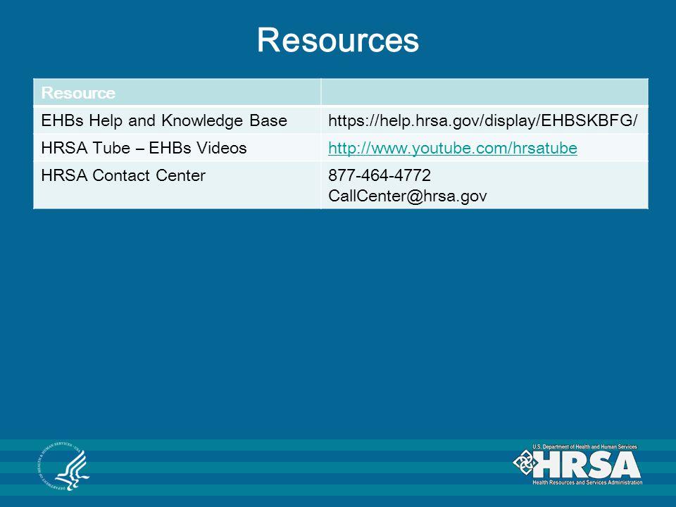 Resources Resource EHBs Help and Knowledge Basehttps://help.hrsa.gov/display/EHBSKBFG/ HRSA Tube – EHBs Videoshttp://www.youtube.com/hrsatube HRSA Con