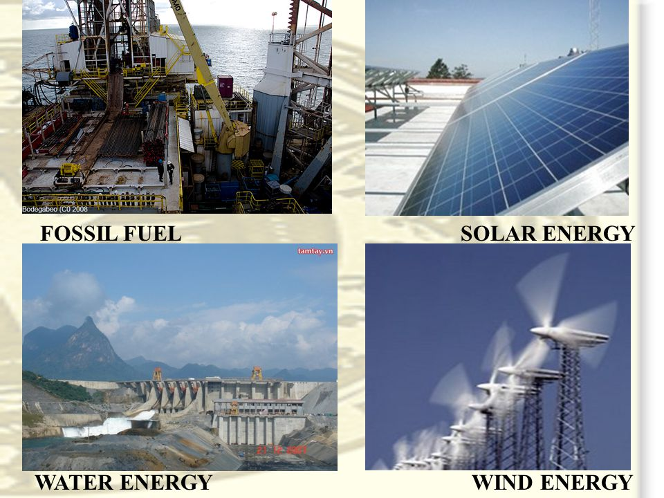 WATER ENERGY SOLAR ENERGYFOSSIL FUEL WIND ENERGY