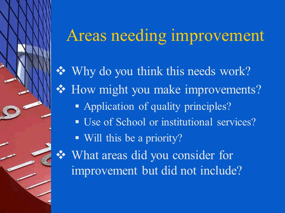 Areas needing improvement  Why do you think this needs work.