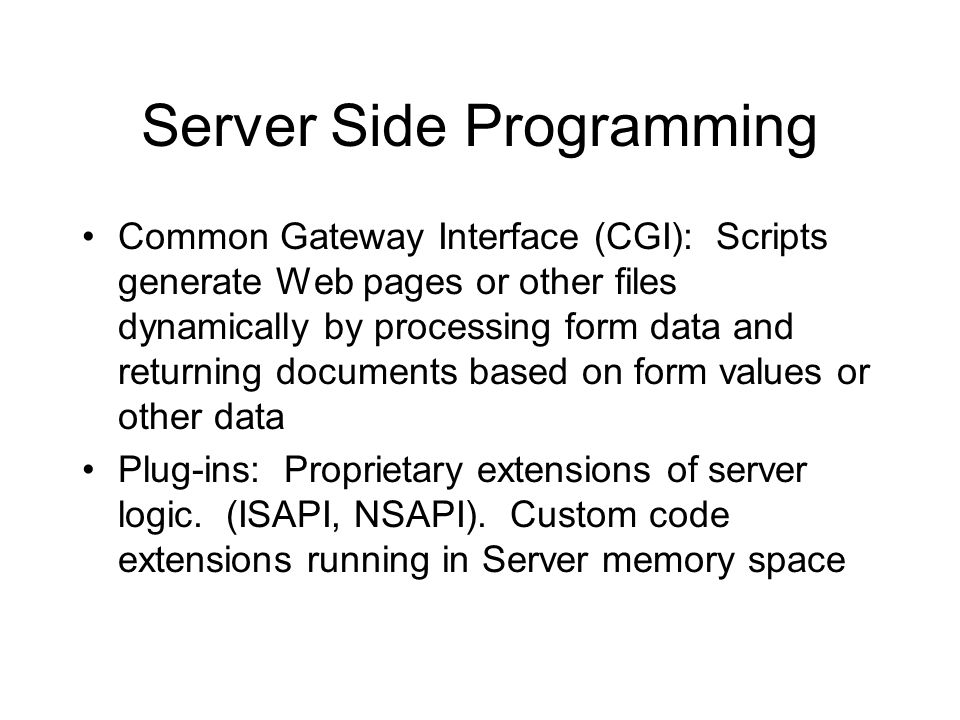 Server Side Programming Common Gateway Interface (CGI): Scripts generate Web pages or other files dynamically by processing form data and returning documents based on form values or other data Plug-ins: Proprietary extensions of server logic.