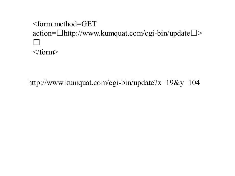 "<form method=GET action= "" http://www.kumquat.com/cgi-bin/update "" > … http://www.kumquat.com/cgi-bin/update?x=19&y=104"