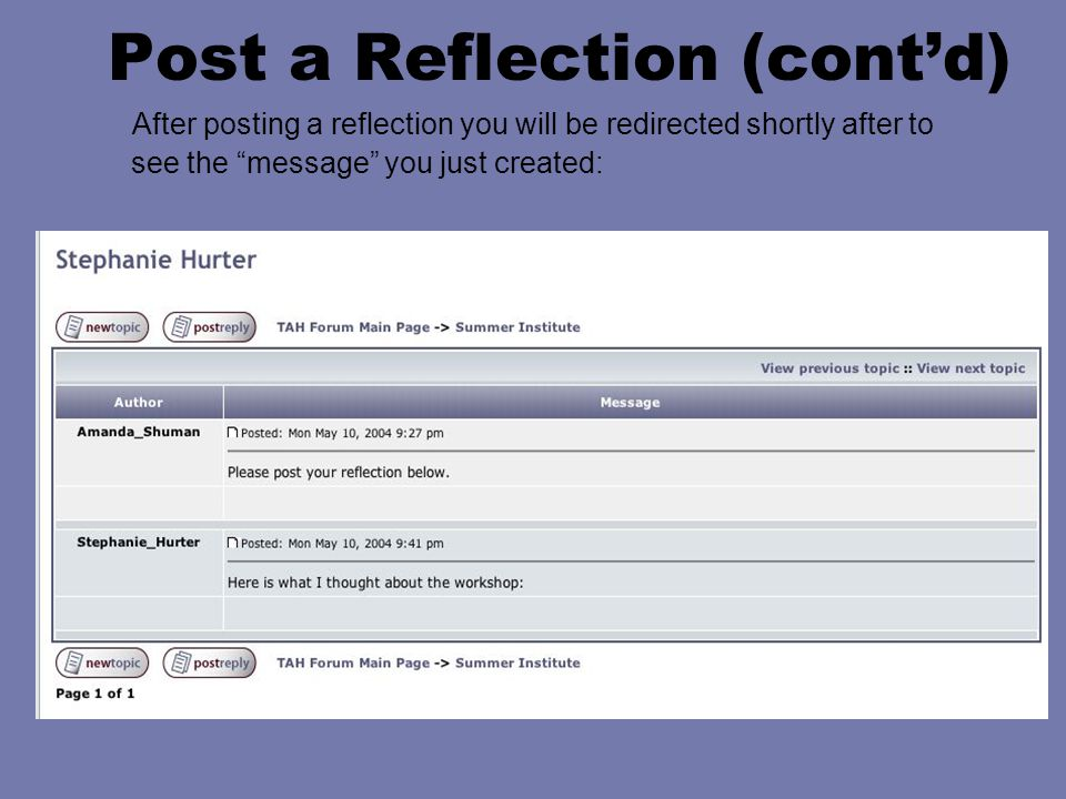 "Post a Reflection (cont'd) After posting a reflection you will be redirected shortly after to see the ""message"" you just created:"