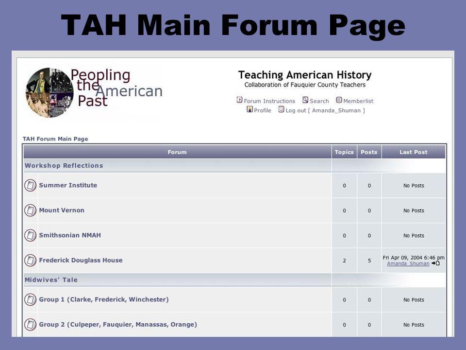 TAH Main Forum Page