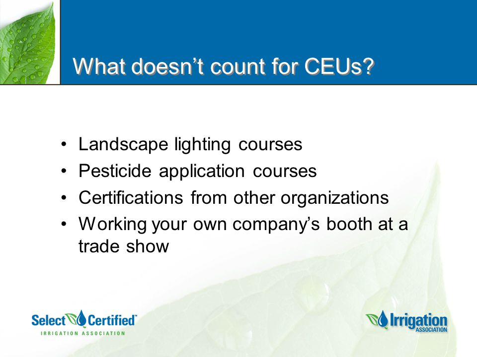 What doesn't count for CEUs.