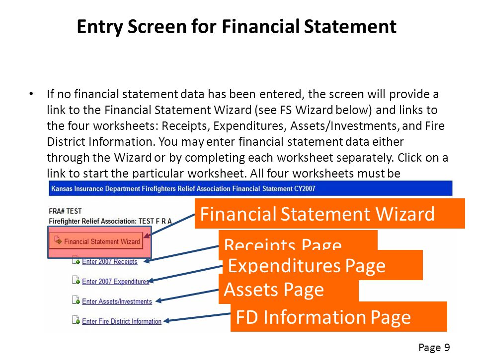 Entry Screen for Financial Statement If no financial statement data has been entered, the screen will provide a link to the Financial Statement Wizard (see FS Wizard below) and links to the four worksheets: Receipts, Expenditures, Assets/Investments, and Fire District Information.