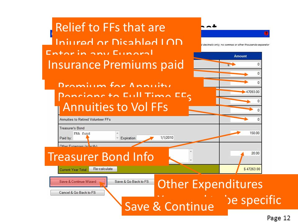 Expenditures Worksheet Relief to FFs that are Injured or Disabled LOD Gratuities to Spouse Enter in any Funeral Expenses Insurance Premiums paid Premium for Annuity Pensions to Full Time FFs Annuities to Vol FFs Treasurer Bond Info Other Expenditures You need to be specific Page 12 Save & Continue