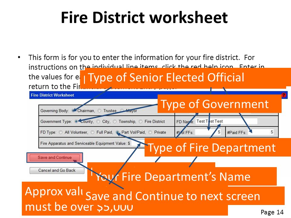 Fire District worksheet This form is for you to enter the information for your fire district. For instructions on the individual line items, click the