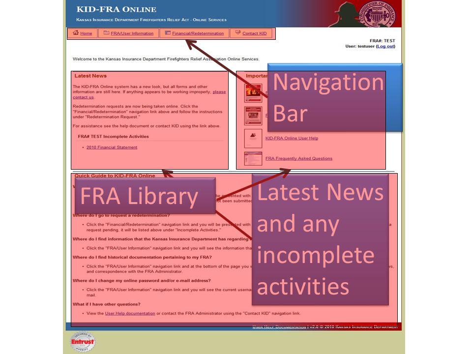 Navigation Bar Navigation Bar Latest News and any incomplete activities Latest News and any incomplete activities FRA Library