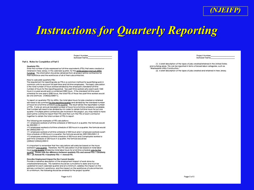Instructions for Quarterly Reporting (NJEIFP)