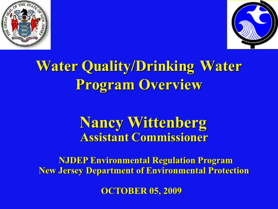 Water Quality/Drinking Water Program Overview OCTOBER 05, 2009 Nancy Wittenberg Assistant Commissioner NJDEP Environmental Regulation Program New Jersey Department of Environmental Protection Nancy Wittenberg Assistant Commissioner NJDEP Environmental Regulation Program New Jersey Department of Environmental Protection