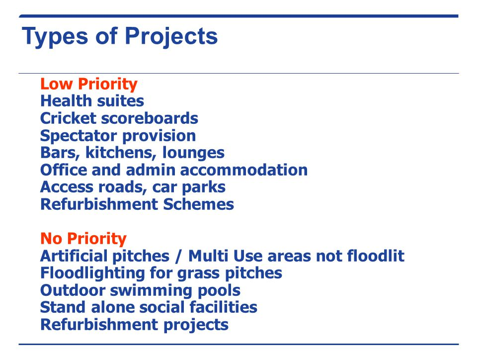 Types of Projects Low Priority Health suites Cricket scoreboards Spectator provision Bars, kitchens, lounges Office and admin accommodation Access roads, car parks Refurbishment Schemes No Priority Artificial pitches / Multi Use areas not floodlit Floodlighting for grass pitches Outdoor swimming pools Stand alone social facilities Refurbishment projects