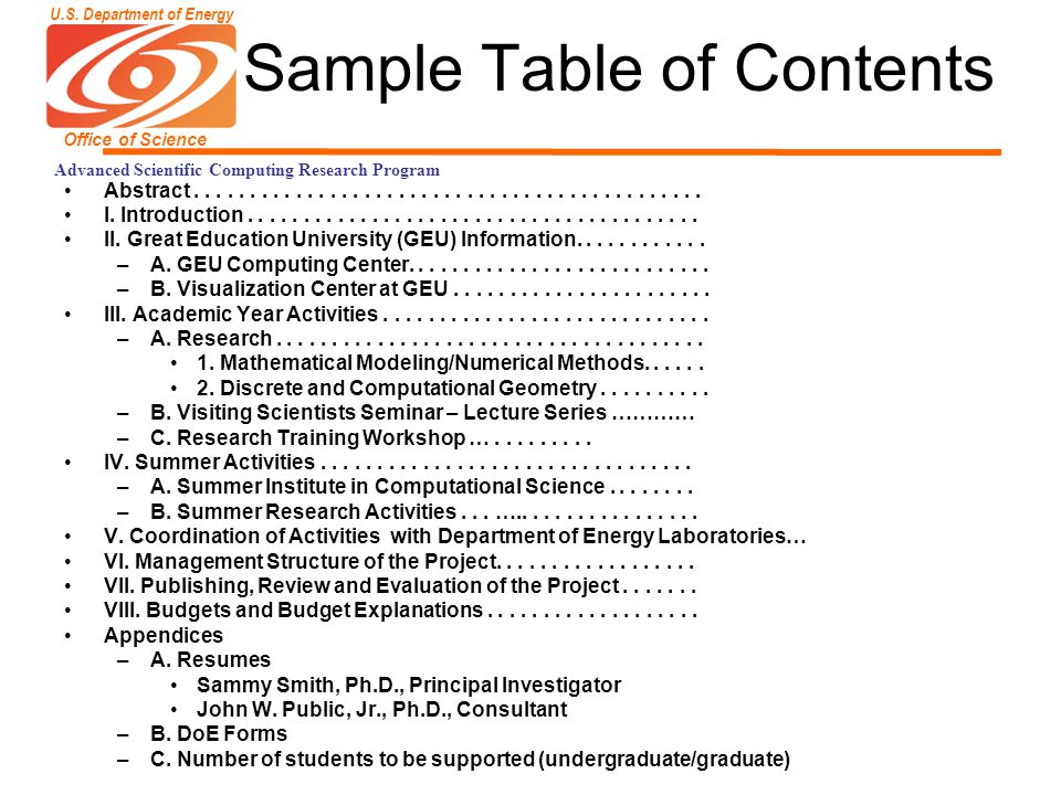 U.S. Department of Energy Office of Science Advanced Scientific Computing Research Program Sample Table of Contents Abstract..........................