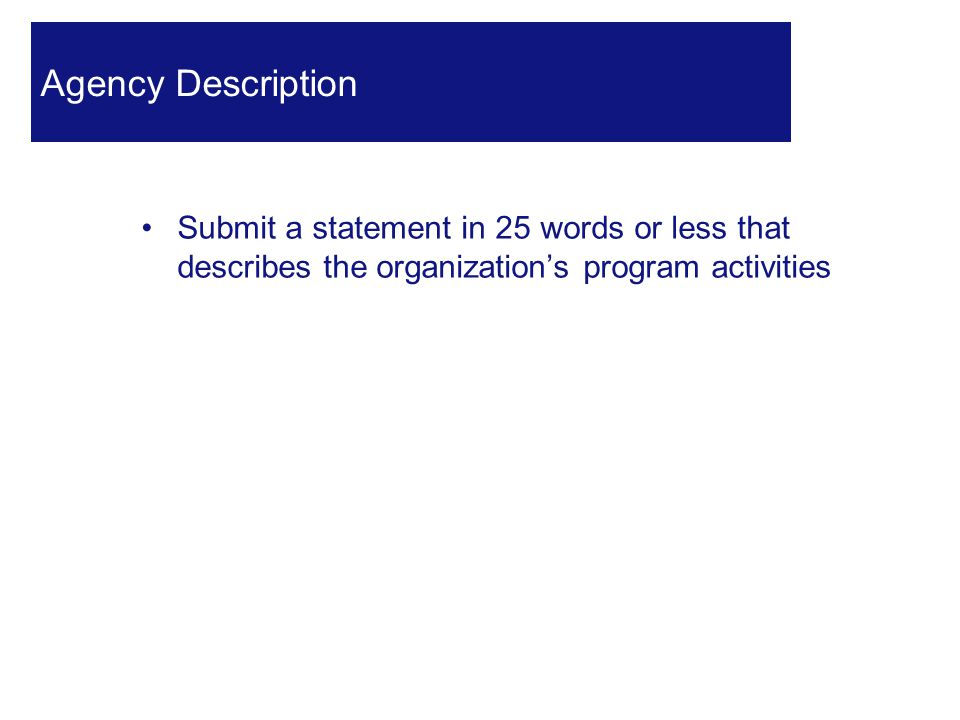 Submit a statement in 25 words or less that describes the organization's program activities 28 Agency Description
