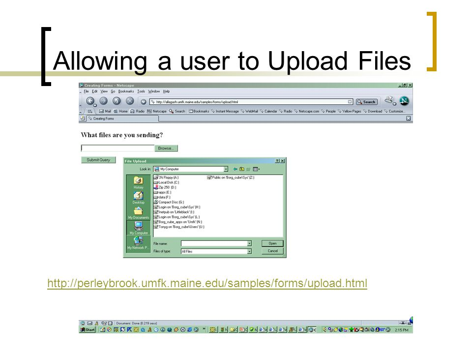 Allowing a user to Upload Files http://perleybrook.umfk.maine.edu/samples/forms/upload.html