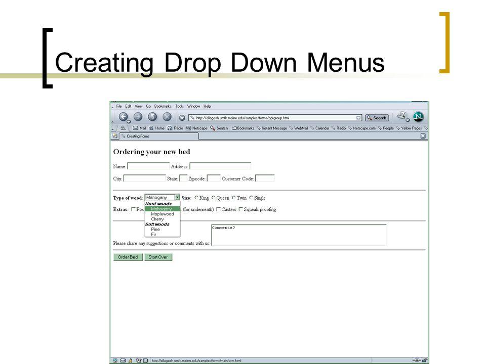 Creating Drop Down Menus