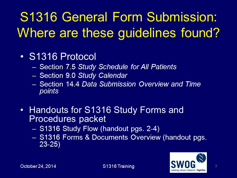 S1316 General Form Submission: Where are these guidelines found.