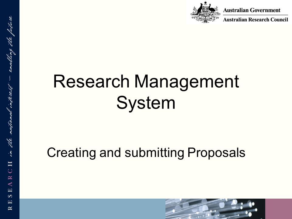 Research Management System Creating and submitting Proposals