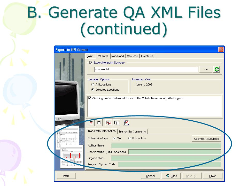 B. Generate QA XML Files (continued)