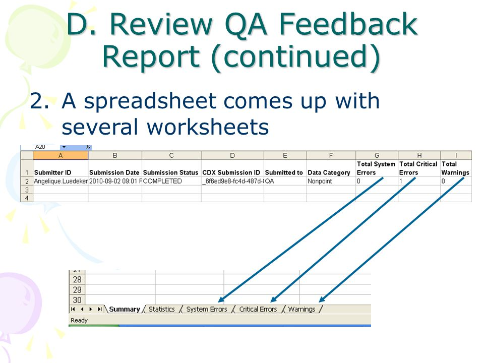 D. Review QA Feedback Report (continued) 2.A spreadsheet comes up with several worksheets