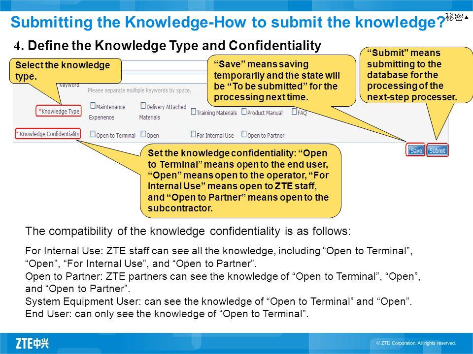 """秘密▲ 4. Define the Knowledge Type and Confidentiality """"Save"""" means saving temporarily and the state will be """"To be submitted"""" for the processing next t"""