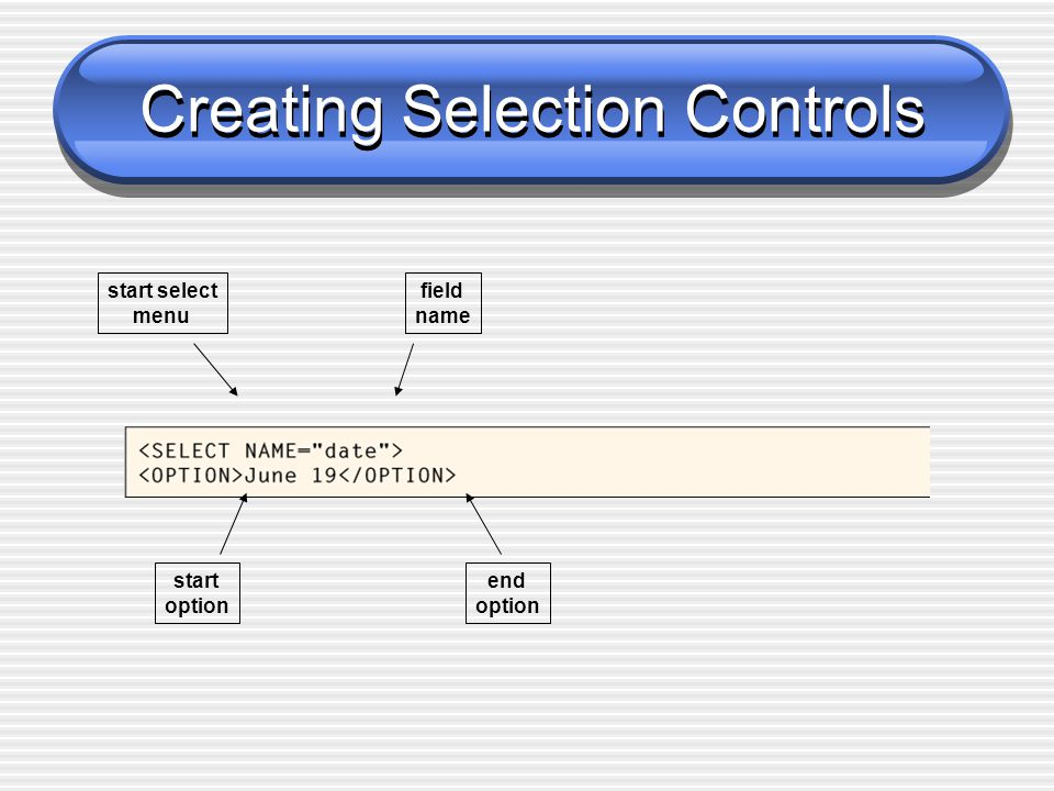 Creating Selection Controls start select menu field name start option end option