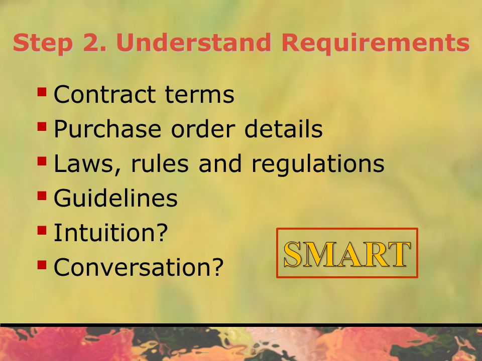 Step 2. Understand Requirements  Contract terms  Purchase order details  Laws, rules and regulations  Guidelines  Intuition?  Conversation?