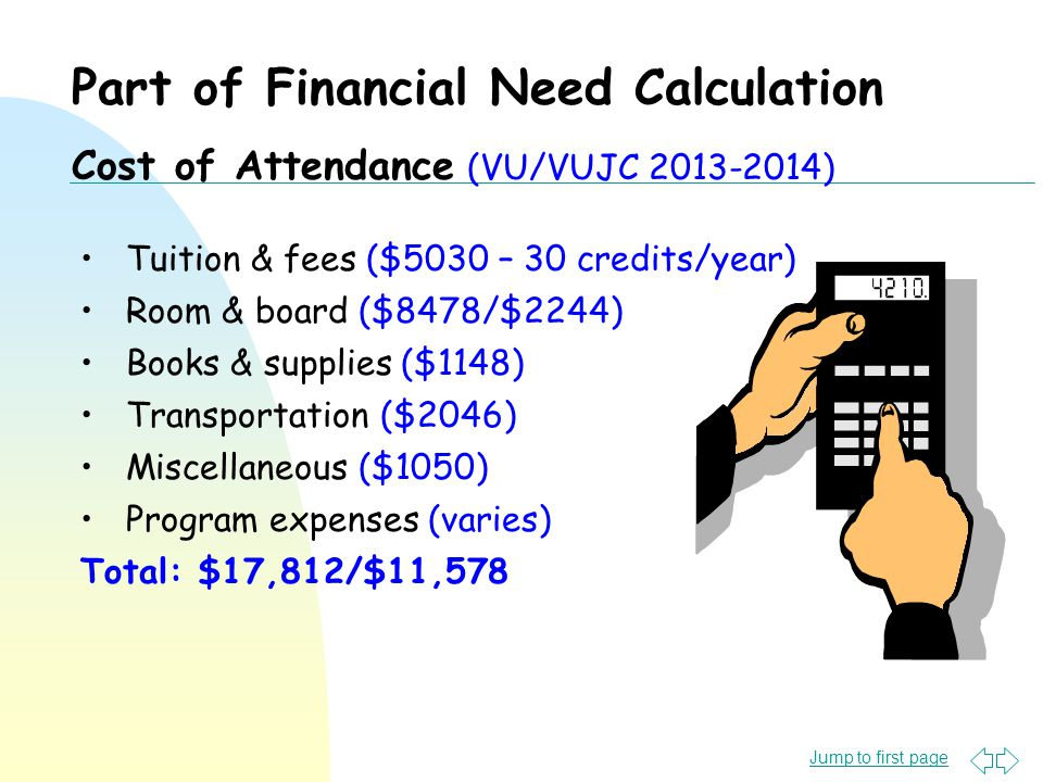Jump to first page Part of Financial Need Calculation Cost of Attendance (VU/VUJC 2013-2014) Tuition & fees ($5030 – 30 credits/year) Room & board ($8478/$2244) Books & supplies ($1148) Transportation ($2046) Miscellaneous ($1050) Program expenses (varies) Total: $17,812/$11,578