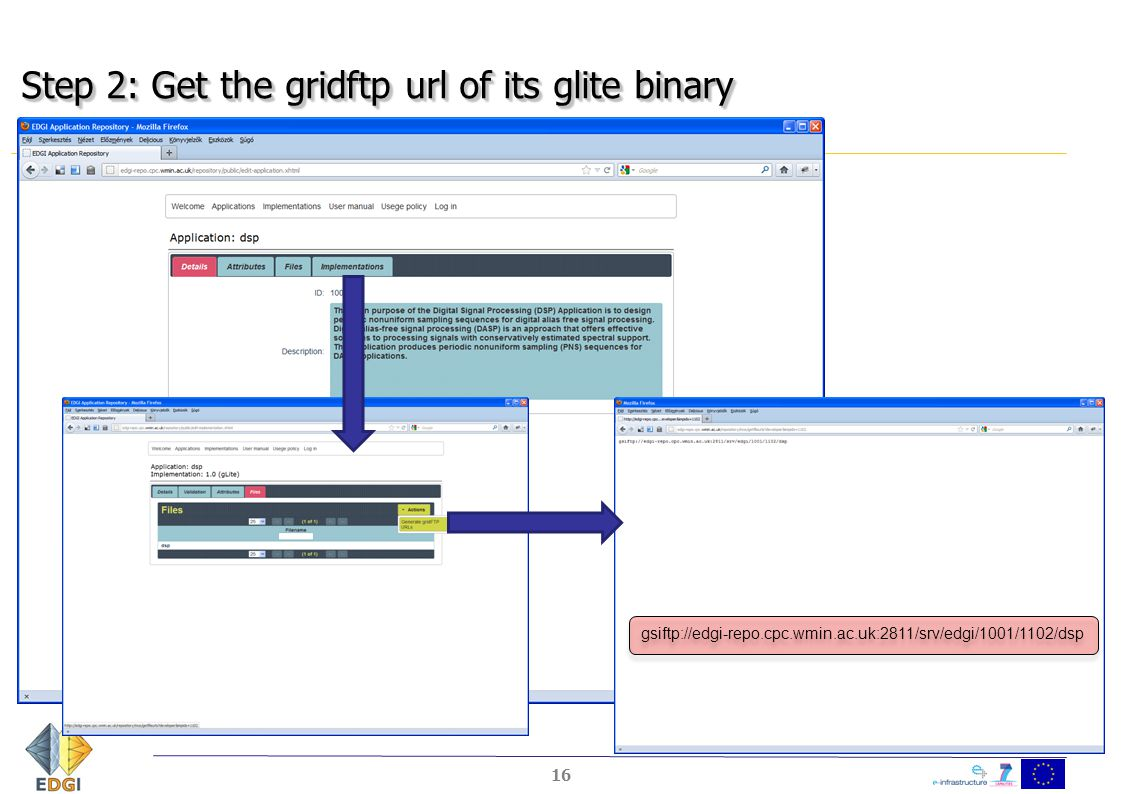 Step 2: Get the gridftp url of its glite binary 16 gsiftp://edgi-repo.cpc.wmin.ac.uk:2811/srv/edgi/1001/1102/dsp
