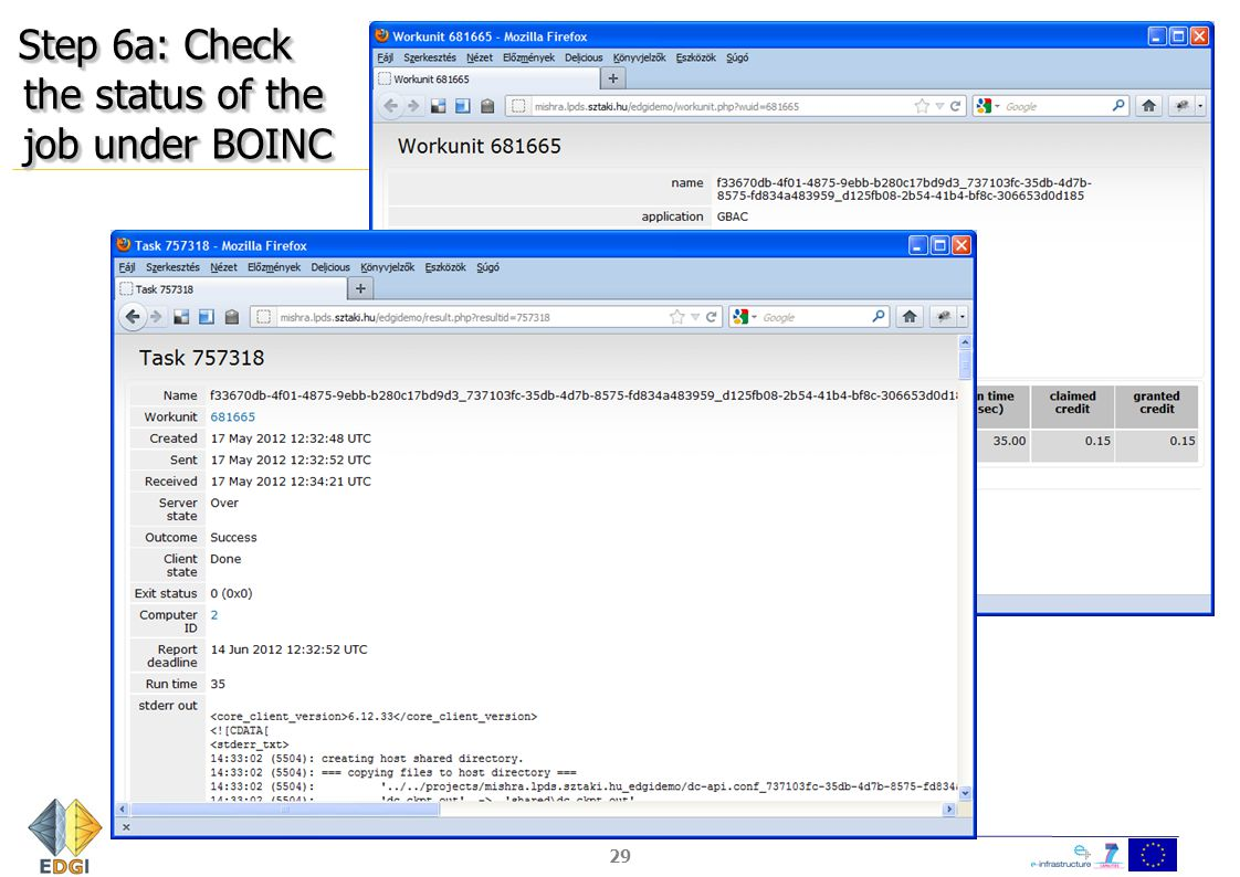 Step 6a: Check the status of the job under BOINC 29