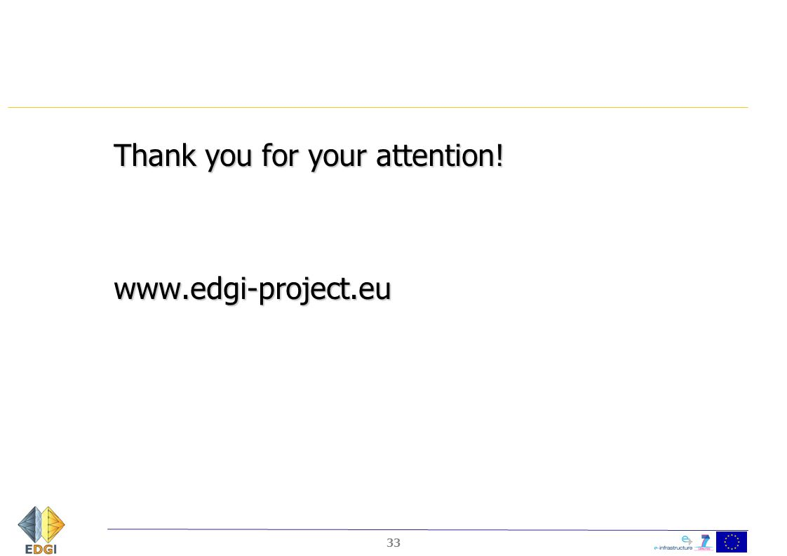 Thank you for your attention! www.edgi-project.eu 33