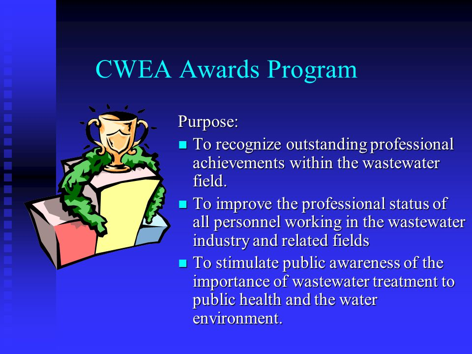 Burke & Lab Excellence Selection Process CWEA's Lab Person of the Year is automatically put forth as WEF's Laboratory Excellence Winner CWEA's Lab Person of the Year is automatically put forth as WEF's Laboratory Excellence Winner CWEA State Safety Committee selects Burke Award Winner - Chooses the highest scoring winner of the year's three category winners (small, medium & large) CWEA State Safety Committee selects Burke Award Winner - Chooses the highest scoring winner of the year's three category winners (small, medium & large)