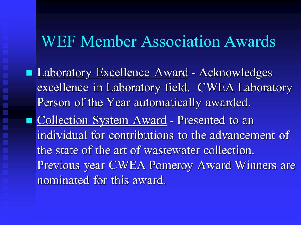 WEF Member Association Awards Laboratory Excellence Award - Acknowledges excellence in Laboratory field.
