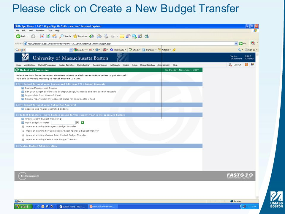 Please click on Create a New Budget Transfer