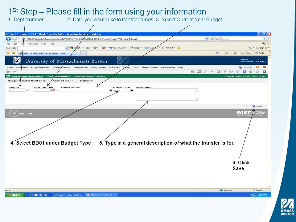1 St Step – Please fill in the form using your information 1.
