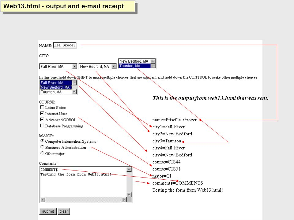 This is the output from web13.html that was sent.
