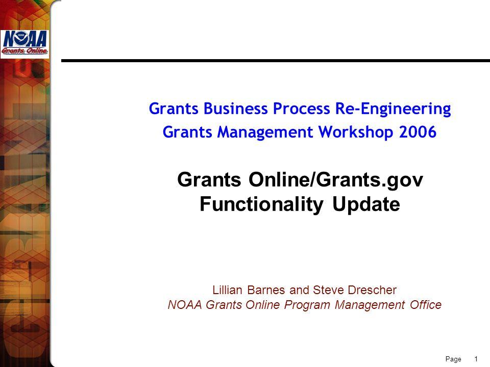 Page 1 Grants Business Process Re-Engineering Grants Management Workshop 2006 Grants Online/Grants.gov Functionality Update Lillian Barnes and Steve D