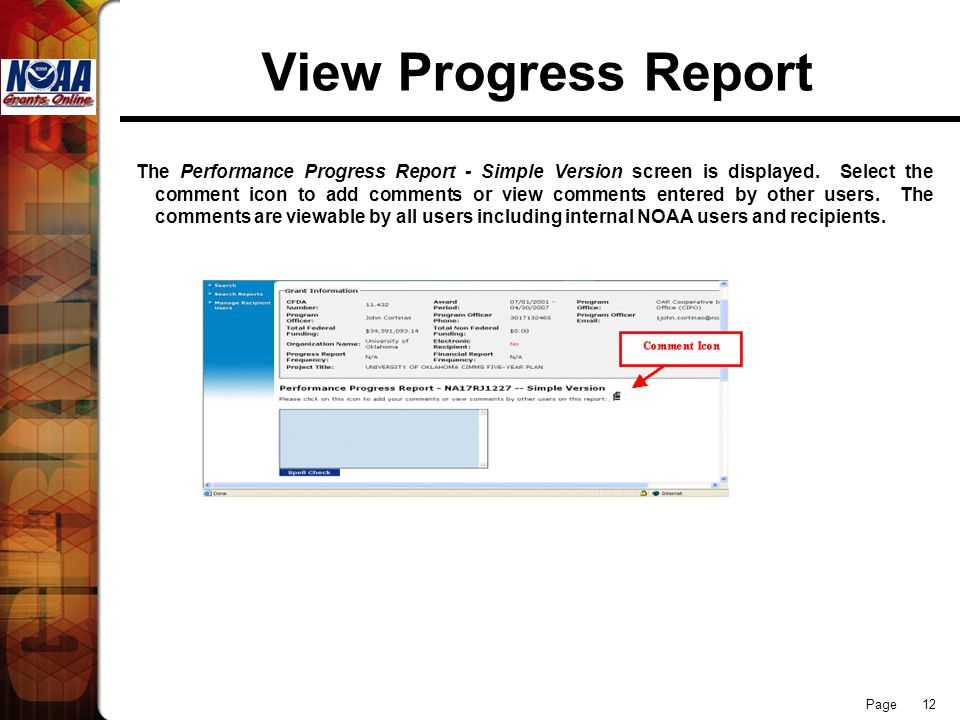 Page 12 View Progress Report The Performance Progress Report - Simple Version screen is displayed.