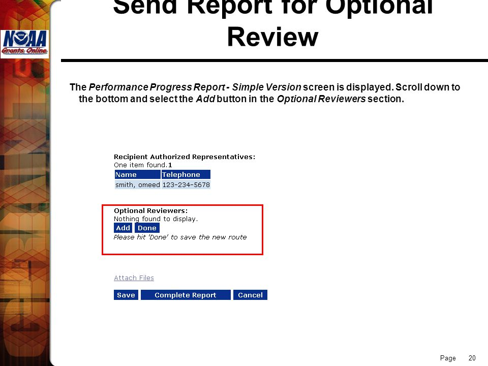 Page 20 Send Report for Optional Review The Performance Progress Report - Simple Version screen is displayed.