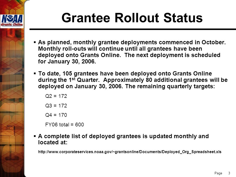 Page 3 Grantee Rollout Status  As planned, monthly grantee deployments commenced in October. Monthly roll-outs will continue until all grantees have
