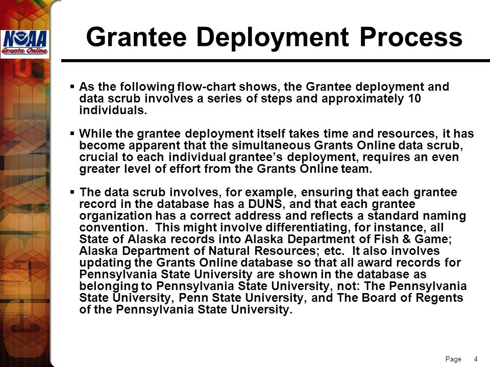 Page 4 Grantee Deployment Process  As the following flow-chart shows, the Grantee deployment and data scrub involves a series of steps and approximately 10 individuals.