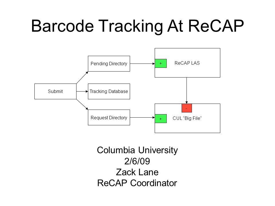 Barcode Tracking At ReCAP ReCAP LAS CUL Big File + - Pending Directory SubmitTracking Database Request Directory + Columbia University 2/6/09 Zack Lane ReCAP Coordinator