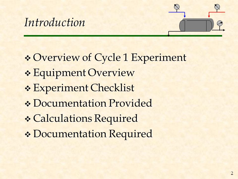 2 Introduction  Overview of Cycle 1 Experiment  Equipment Overview  Experiment Checklist  Documentation Provided  Calculations Required  Documentation Required