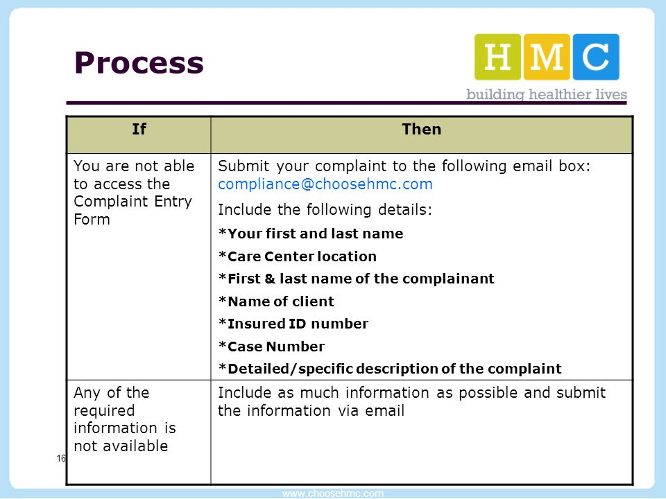 www.choosehmc.com 16 Process IfThen You are not able to access the Complaint Entry Form Submit your complaint to the following email box: compliance@c