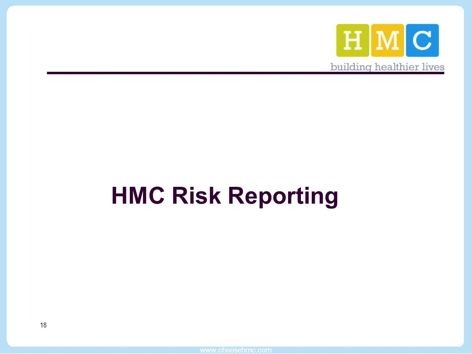 www.choosehmc.com 18 HMC Risk Reporting