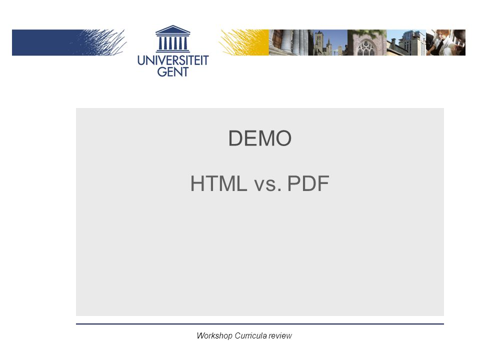 Workshop Curricula review DEMO HTML vs. PDF